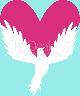 Dove Icon with Heart Shape. Logo peace love template vector