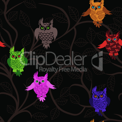 Owl bird vector seamless funny background with cartoon owls (seamless pattern)