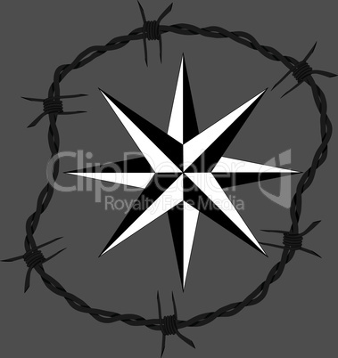 Barbed wire circle frame windrose navigation symbol. Vector fence illustration. Protection concept design.