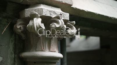 Detail of ancient family crypt in graveyard