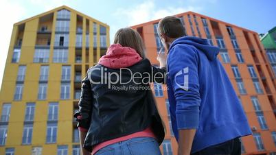 Young couple buying new apartment