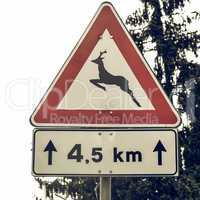 Vintage looking Wildlife danger sign