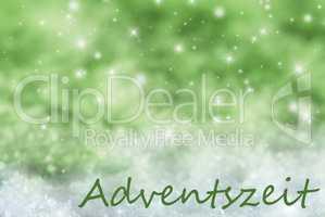 Green Sparkling Christmas Background, Snow, Adventszeit Means Advent Season