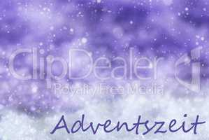 Purple Christmas Background, Snow, Snowflakes, Adventszeit Means Advent Season
