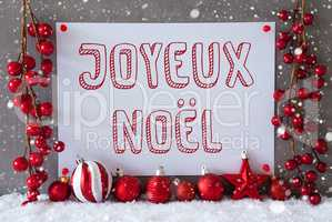 Label, Snowflakes, Balls, Joyeux Noel Means Merry Christmas