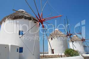 Windmühlen auf Mykonos Griechenland