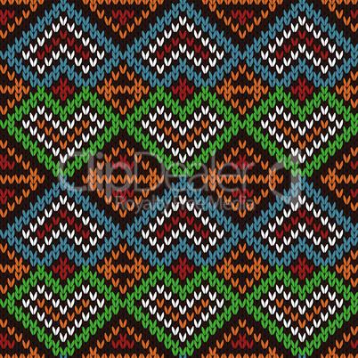 Ethnic knitting motley ornate seamless pattern