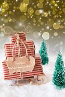 Vertical Sleigh On Golden Background, Frohe Weihnachten Means Merry Christmas