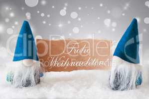 Blue Gnomes With Card, Frohe Weihnachten Means Merry Christmas