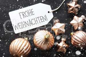 Bronze Balls, Snowflakes, Frohe Weihnachten Means Merry Christmas