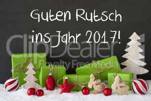 Christmas Decoration, Cement, Snow, Guten Rutsch 2017 Means New Year