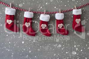 Nicholas Boots As Advent Calendar, Cement, Christmas Eve, Snowflakes