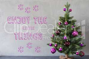 Christmas Tree, Cement Wall, Quote Enjoy The Little Things
