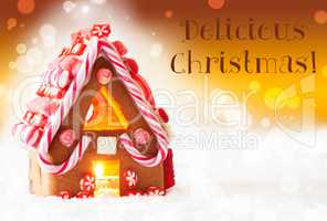 Gingerbread House, Golden Background, Text Delicious Christmas