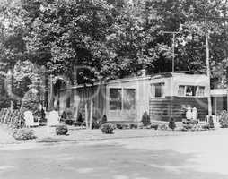 Mobile home in trailer park, 1956