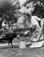 Woman luring turkey to hatchet with corn