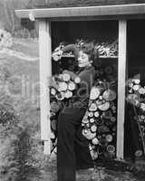 Woman hauling firewood