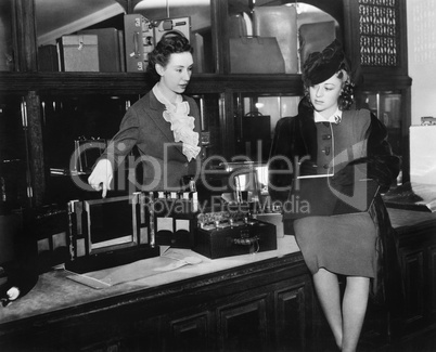 Two women in a department store