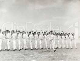 1930s naval officers marching