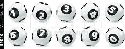 Set of Lottery Black and White Number Balls 0-9