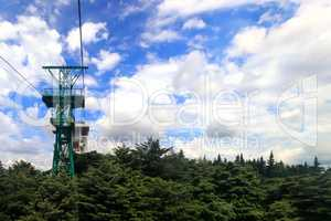 The cable car to the top of the mountain in the resort town.