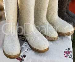 Warm shoes made of felt (felt boots)