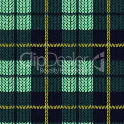 Knitting seamless pattern in turquoise, dark blue and yellow colors
