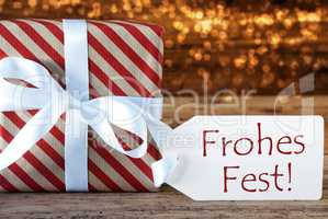 Atmospheric Gift With Label, Frohes Fest Means Merry Christmas