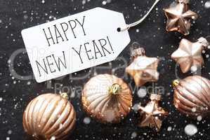 Bronze Christmas Balls, Snowflakes, Text Happy New Year