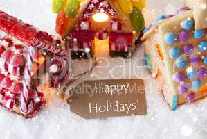 Colorful Gingerbread House, Snowflakes, Text Happy Holidays
