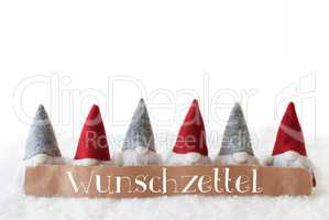 Gnomes, White Background, Wunschzettel Means Wish List