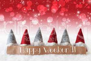 Gnomes, Red Background, Bokeh, Stars, Text Happy Weekend