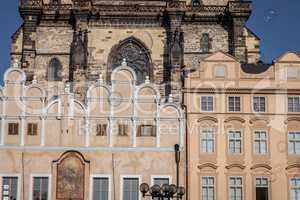 Architecture and soap bubbles on Old Town Square in Prague.inter