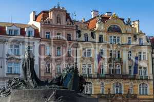 Architecture and Jan Hus Memorial on Old Town Square in Prague