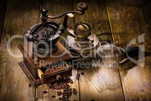 Coffee Mill And Old Oil Lamp