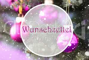 Rose Quartz Christmas Balls, Wunschzettel Means Wish List