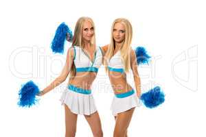 Support team. Image of pretty girls with pom poms