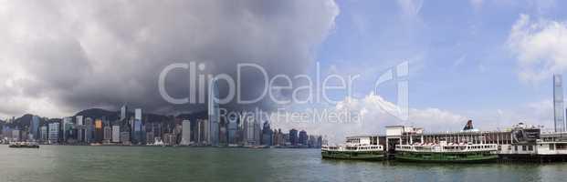 Panorama of Hong Kong Skyline and Star Ferries