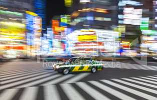 Motion Blurred on Crossing, Shibuya, Tokyo, Japan