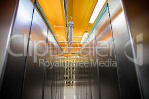 Hallway with a row of server rack