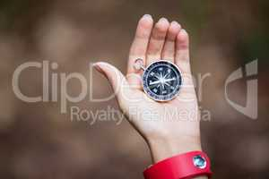 Hand holding compass in forest