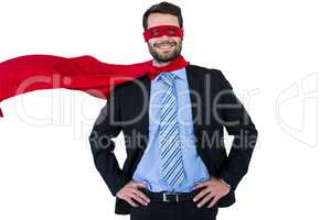 Portrait of businessman pretending to be a super hero
