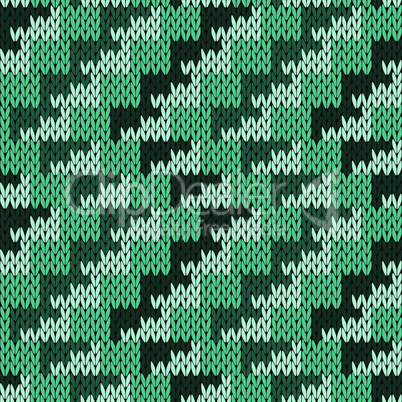 Knitting seamless pattern with zigzag lines in turquoise hues