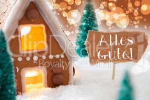 Gingerbread House, Bronze Background, Alles Gute Means Best Wish
