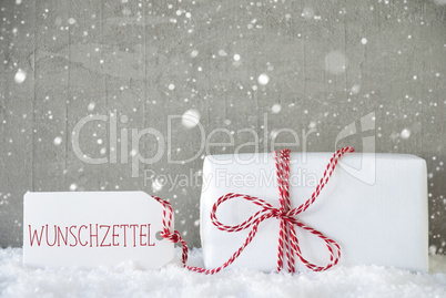Gift, Cement Background With Snowflakes, Wunschzettel Means Wish List