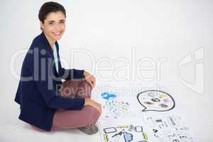 Businesswoman working on icon charts