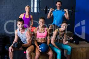 Athletes with exercise equipment