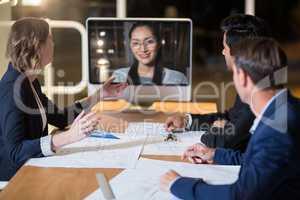 Business team having vide conference