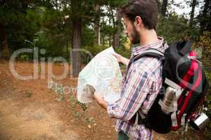 Male hiker looking at map