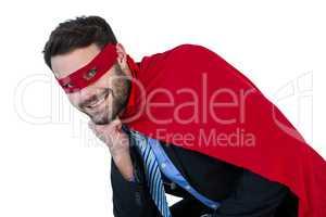 Portrait of businessman pretending to be a super hero